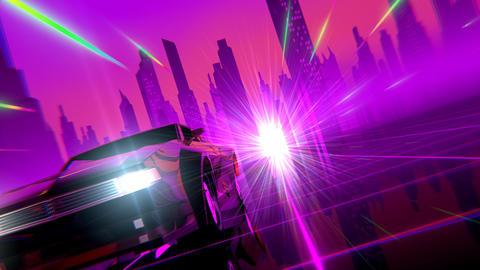 Retro-futuristic 80s style Car CG動画素材