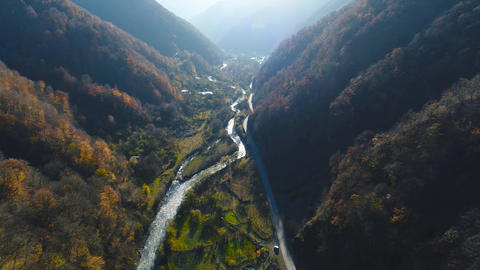Dramatic Winding Creek During Autumn Stock Video Footage