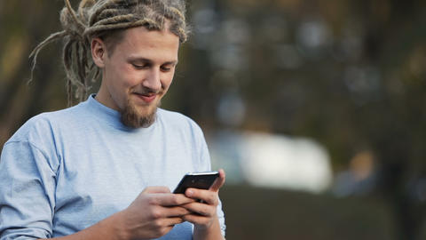 Boy Texts in Street Live Action