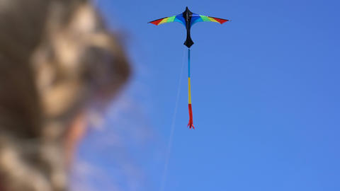 a kite in the sky on a clear day in the girl's hand Live Action