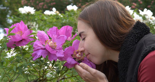 Face of the young girl near flowers in 4k Footage
