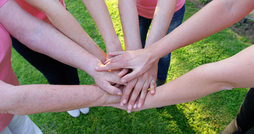 Group of women forming handstack in the garden 4k Live Action