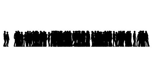 A crowd of people are standing. People silhouettes on white Live Action