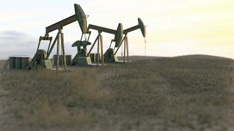 Oil wells seamless loop - oil pumps on meadow-3D render Animation