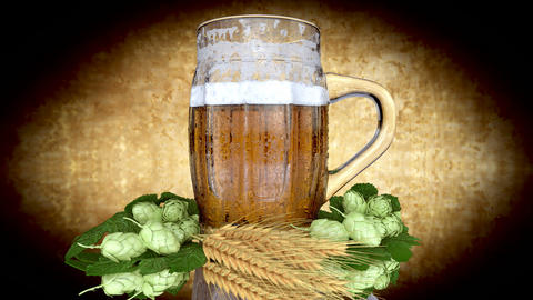 glass of beer with barley and hops - 3D render Animation