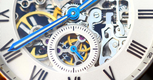 Automatic Men Watch With Visible Mechanism Footage