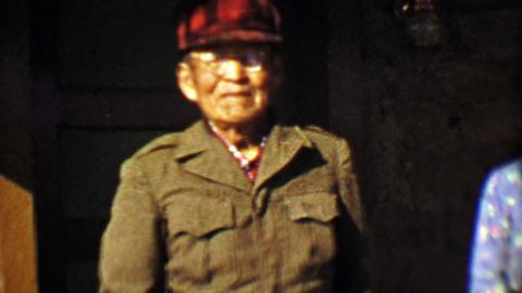 1957: Inuit Alaskan senior citizens wearing wearing style clothing Footage