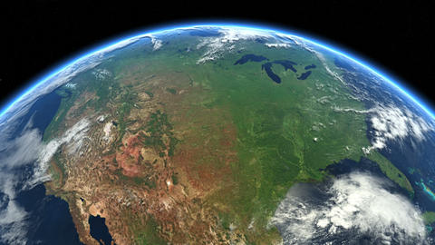 USA from space. Earth From Space. North America, US Animation
