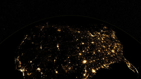 USA from space. At night. Earth From Space Animation