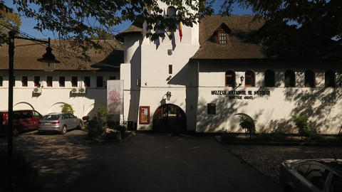 Entrance to the administrative building of the village museum Footage