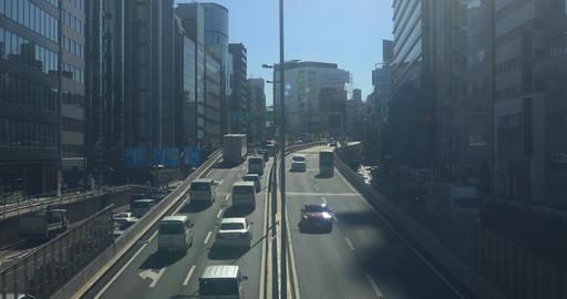 Highway near the building at Shibuya wide shot deep focus ビデオ