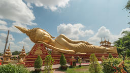 Vientiane Laos time lapse 4K, timelapse at Reclining Buddha statue in Wat Pha Footage