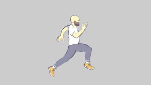 Animation of running man. Doodle style HD animation with green screen Animation