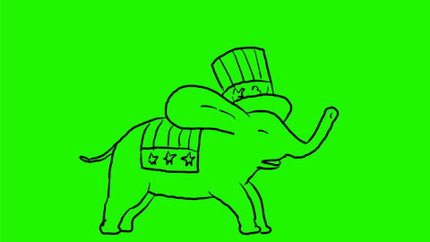 Republican Elephant Jumping Side Drawing 2D Animation Animation
