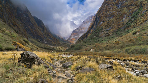 Beautiful view of nature on a trekking trail to the Annapurna base camp, the Photo