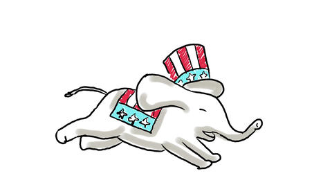 Republican Elephant Jumping Color Drawing 2D Animation Animation
