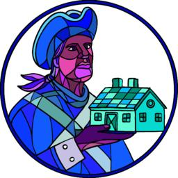 American Patriot House Mosaic Color Vector