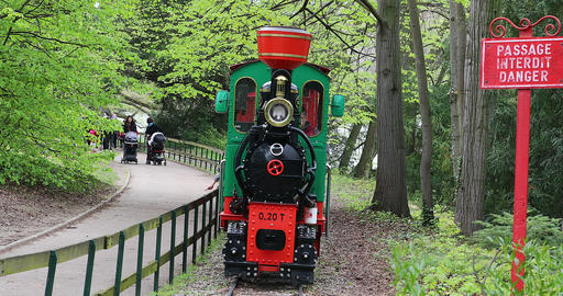 Little Tour Train In The Urban Park In Lyon France Footage