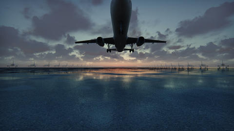 Plane takes off at sunset background in slow motion Animación