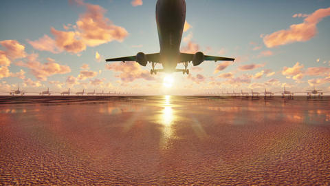 Plane takes off at sunrise background in slow motion Animación