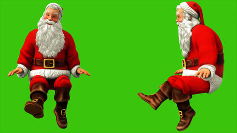 Cheerful Santa Claus is waving his feet on the green screen during Christmas 4k Animation