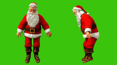 Cheerful Santa Claus is trying to stand on something and swinging on the green Animation