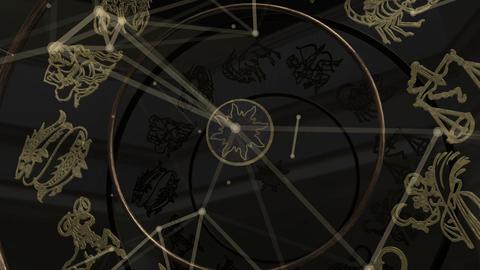 Zodiac Signs Inside a Golden Wheel with Plexus Footage