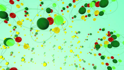 Atoms Spinning in Light Green Backdrop Animation