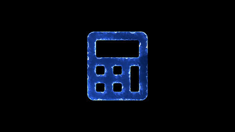 Symbol calculator. Blue Electric Glow Storm. looped video. Alpha channel black Animation