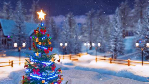 Christmas tree in alpine village at snowfall night 4K Animation