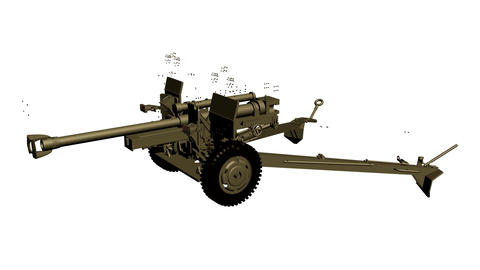 Assembling the 105 mm gun, howitzer, in parts in motion. Footage. Animation 애니메이션
