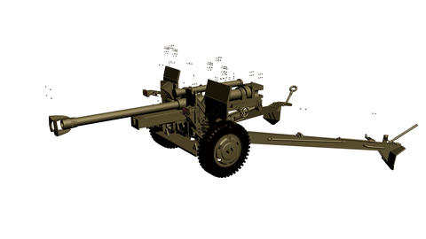 Assembling the 105 mm gun, howitzer, in parts in motion. Footage. Animation Animation