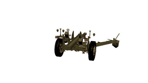 Assembling the 105 mm gun, howitzer, in parts in motion.... Stock Video Footage