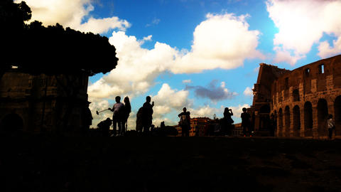 sunset on the Arch of Constantine, triumphal arch near the Colosseum in the GIF