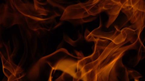 Golden Flames On Black Background Footage