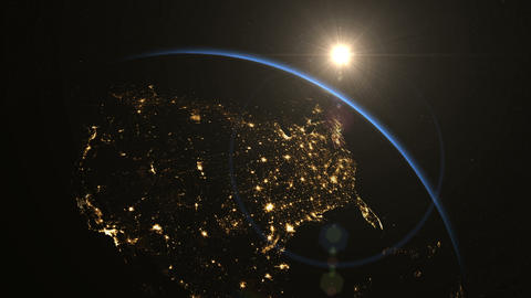 USA from space. Sunrise. Earth From Space Animation
