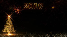 Christmas golden Happy New Year 2019 light shine particles bokeh fireworks Animation