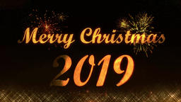 Merry Christmas 2019 golden light shine particles Animation