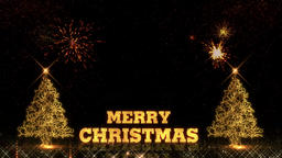 Merry Christmas and Happy New Year 2019 tree golden light shine particles Animation