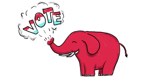 American Elephant Vote Drawing 2D Animation CG動画素材