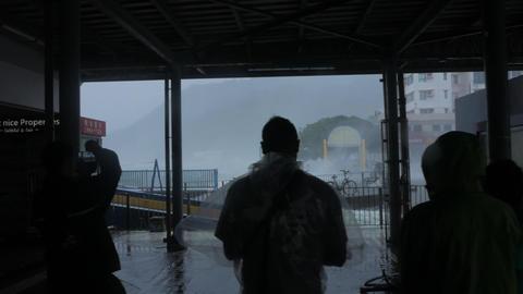 HONG KONG - SEP 16, 2018: Hurricane Typhoon Mangkhut near ferry pier, Mui Wo Footage