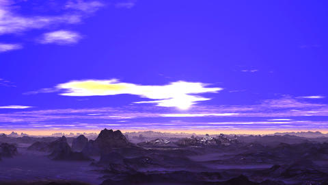 Bright Sunrise over Snowy Mountains Animation