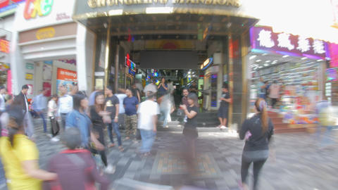 HONG KONG - NOV 04, 2018: Crowds of people inside the Chungking Mansion in Tsim Footage