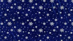 Dark blue curtains with snowflakes rise up. With alpha channel Animación