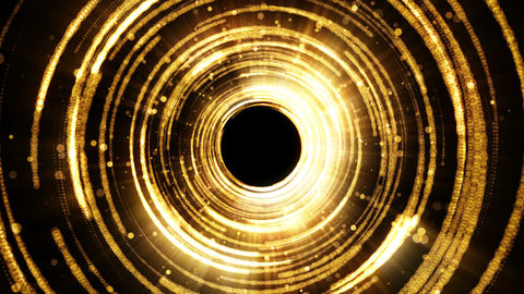 Golden glamour tunnel with lights and particles. Magic dust come from the center Animation