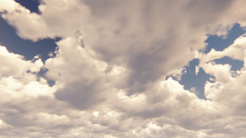 Blue sky with beautiful cloudscape with large clouds and sunlight breaking Animation
