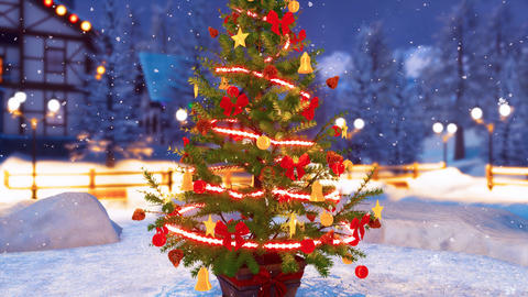 Decorated Christmas tree at snowy night Close up 4K Animation