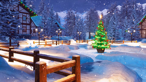 Snowy alpine mountain township at Christmas night Animation