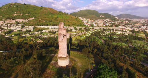 Aerial view of a graveyard. Statue of Jesus Christ Footage