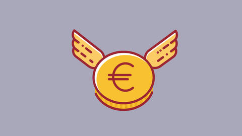 Animation of flying Euro coin currency. Flat design style HD animation with Videos animados